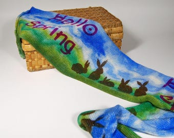 """Sparkle sock Blank - """"Hello Spring""""-Brown Bunnies on the grass under a blue spring sky"""