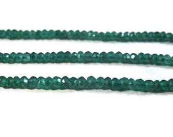 Memorial Day SALE - Green Onyx Beads,  13 Inch Strand of 3mm Faceted Rondelles for Making Jewelry, Emerald Substitute (R-On1)