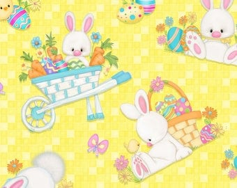 Hop to It by Henry Glass Fabrics, Tossed Bunny Scenes in yellow , yard