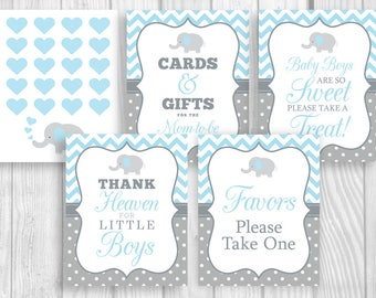 Light Blue and Gray Printable Boy's Elephant Baby Shower Sign Bundle - Guest Book, Gift Table, Favor Table, Etc - Instant Download