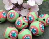 Set of Pastel Sage Green Round Shaped Beads With Vibrant Colored Bulls Eye Pattern Handmade Polymer Clay Artisan Jewelry Supplies