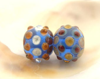 Blue Handmade Lampwork Bead Pair