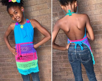 Remix apron top - turquoise, hot pink, green and purple – ready to wear