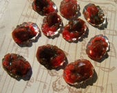 SALE 30% Off Vintage Baroque Red and Black Geode 14x10mm Glass Foiled Cabochons 6