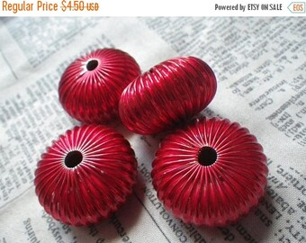 SALE 30% Off Blazing Scarlet Vintage Brass Huge Squash Beads 30x12mm Hollow 4 Pcs