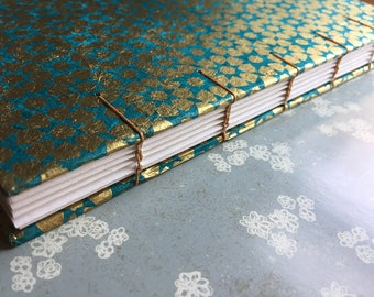 "Gilded Peacock - Teal, Gold Coptic Hand-bound Notebook, Sketchbook - 6x9"", 192 pages"