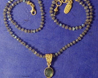 Hand knotted faceted labradorite gemstone beads and 24k gold vermeil Bali beaded necklace