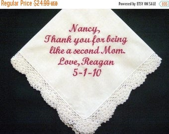 ON SALE Embroidered Mother of the Bride Gift – Mother of the Bride Handkerchief – Wedding Handkerchief – Personalized Hankie 5S