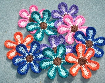 10 handmade cotton thread crochet flowers -- 2628