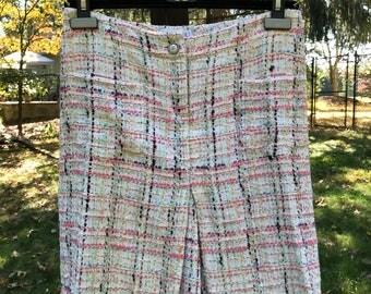 100% Authentic vintage Coco Chanel high waist tweed wool cotton silk skirt skort shorts sz 36