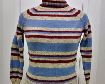 SUMMER SALE! Vintage Striped Turtleneck Raglan Knit Pullover Sweater