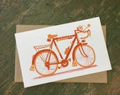 RACER BICYCLE 10 SPEED Print Hand Printed Letterpress with Kraft Envelope