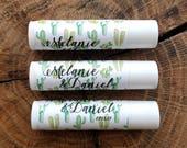 Personalized Lip Balm Stickers -- Multi-Cactus White -- Custom Chapstick Labels, Shower Favors, Wedding Favors