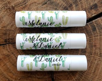 Personalized Lip Balm Stickers -- Multi-Cactus White -- Custom Chapstick Labels, Shower Favors, Wedding Favors