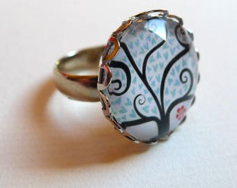 Ring, blue hearts BA140 tree