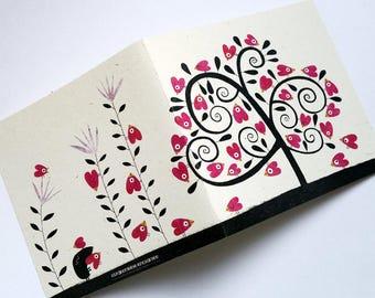 Card, tree birds-hearts C077