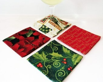 Wine Glass Coasters Red and Green Christmas