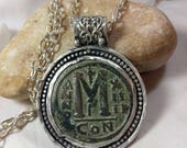 Ancient Byzantine Coin Pendant, Chunky  silver , coin  Pendant  ,large  authentic antique coin necklace, ancient coin jewelry