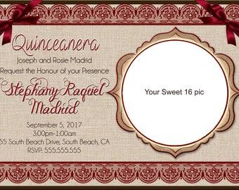 Quinceañera Sweet 16 Invitation Digital Design