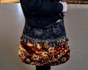 SALE Velvet boho bag in orange / crossbody bags