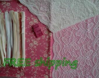 FREE Ship DIY Fabric + Notions Pink & Cream Flowers for 1 BRA + Panty by Merckwaerdigh