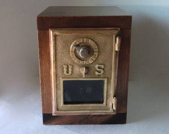 Vintage Brass Bronze US Post Office Mail Box Door Bank Wooden Safe Man Groomsman 5th 7th 8th Anniversary Retirement Combination Lockbox Guy