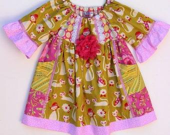 Sassy Kitty Dress, girls dress, toddler dress, baby dress, birthday dress, party dress, boutique dress, fancy dress, fall dress