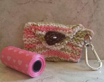 Dog Poop Bag Dispenser Knit Cotton Poop Bag Holder Handknit Cotton Knit Fabric Coconut Button Metal Carabiner includes Roll of bags