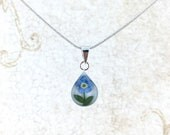 Forget me not Necklace, Miniature Forget me not Flower, Forget me not Sterling Silver Teardrop Pendant White Background