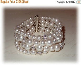 20% OFF 5 Strand Pearl Bracelet, Bridal Cuff, Pearl Cuff Bracelet, Wedding Cuff, Pearl Bracelet, Pearl Cuff, Rhinestones, Ivory White