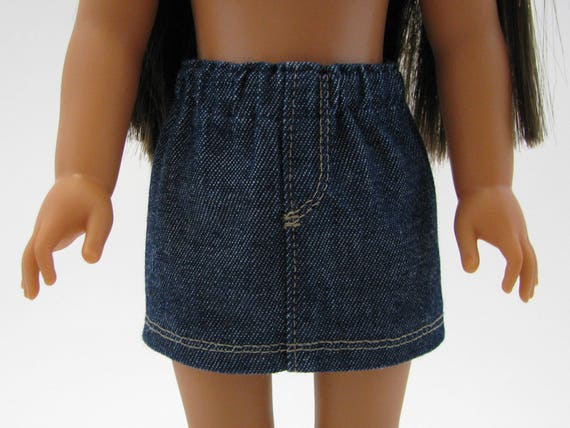 """Fits Like Wellie Wisher  - 14"""" Doll Clothes - American Doll - 14 Inch Doll Clothes - Girl Denim Skirt - Doll Skirt - A Doll Boutique"""