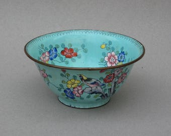 Vintage Brass Cloisonne Bowl with Birds & Flowers Light Green Chinese Cloisonne Rice Bowl Asian Decor