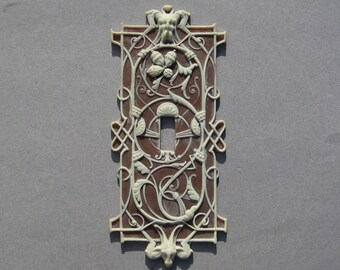 Light Switch Plate Cover Brown Jasperware Wedgwood Look Plastic Gargoyles Norse God Horned Goat Acorns So Unusual