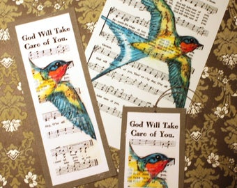 F R E E  Shipping  Barn Swallow Spiritual Song Page 4x6, 5x7, or 8x10 Print + bookmark + tag   God Will Take Care Of You Bird