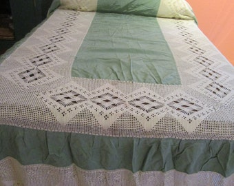 Pair Twin Bedspreads Green Rayon Crochet Lace 1930s Hollywood Glam Hays Code