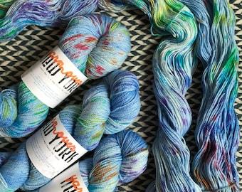Hand-dyed yarn, Indie dyed yarn, hand dyed yarn CARE BEAR STARE -- ready to ship -- Broadway sparkle sock merino/ nylon/ stellina yarn