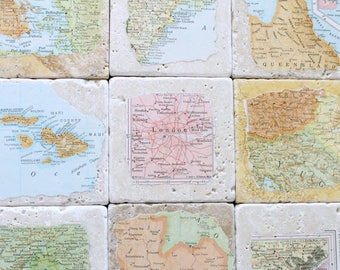SUMMER SALE Anniversary Gifts for Men.  Personalized Natural Stone Vintage Map Coasters. You Select Four Locations.