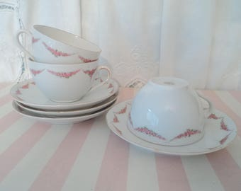 Set of 3 Dainty Vintage Pink Rose Tea/Coffee Cups and Saucers RK Austria