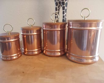 Vintage Copper Canisters set of 4 wood lids made in Thailand