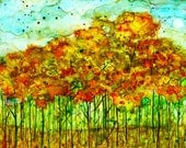 Autumn Forest: Fine Art Print from mixed media painting