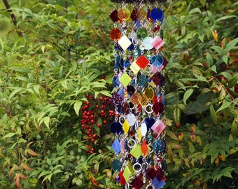 Glass Wind Chime - Glass Suncatcher - OOAK Gift For Her, Garden Decor, Anniversary, Birthday, Wedding, Housewarming,  Giardino arcobaleno