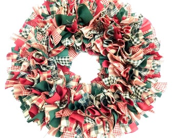 "Small Christmas Rag Wreath Red Green Homespun Fabric Winter 14"""