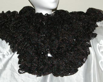 Black Sparkling Ruffled knitted Scarf to dress up for New Years!