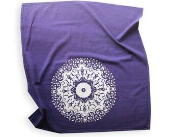 Eggplant and Gold Mandala Tea Towel - Boho Style Decor - Mandala Tapestry - Purple and Gold Kitchen Decor - Hostess Gift
