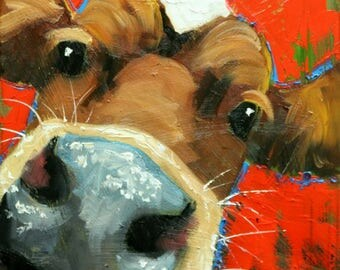 Cow painting 1236 12x12 inch original animal portrait oil painting by Roz