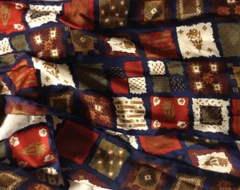 Vintage 1980's Bill Blass Silk  Scarf 60  inch long 10 inches Wide Navy Blue