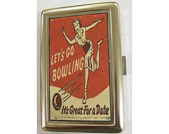 Bowling metal wallet retro cigarette case vintage 1950's ID case rockabilly bowling alley kitsch