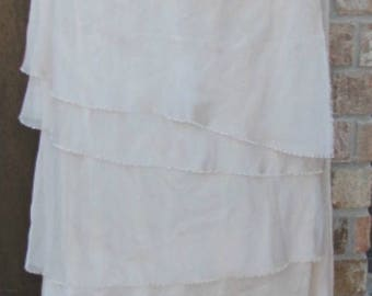 Shabby Chic Ivory Polyester Chiffon ruffled skirt