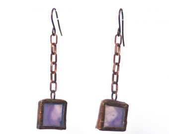 Stained Glass Earring- Copper Earrings- Purple Earrings