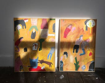 Untitled (The Yellow Paintings 2017) | Two Original Paintings on Canvas | Faye Moorhouse